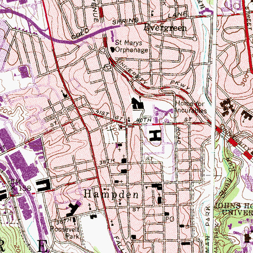 Topographic Map of Saint Marys Parish House, MD