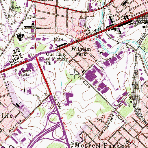 Topographic Map of DeSoto Road Business Park, MD
