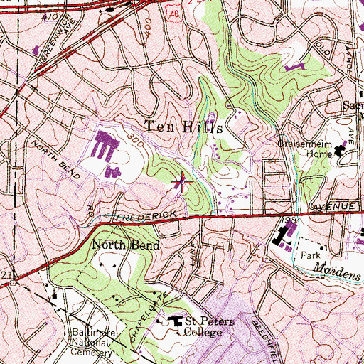 Topographic Map of Greater Baltimore Academy, MD