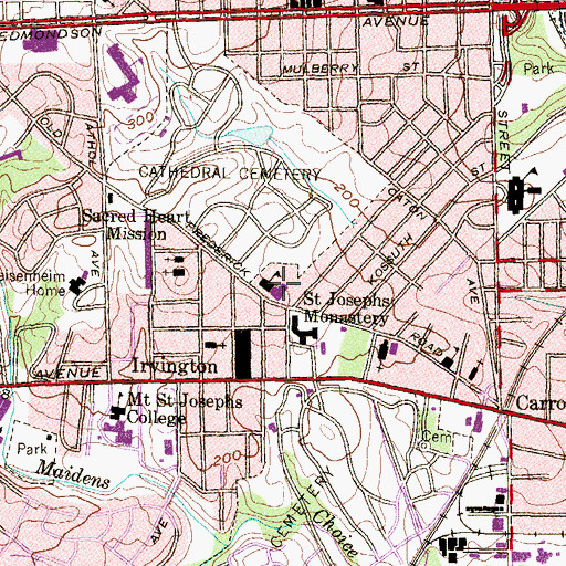 Topographic Map of Irvington Public School (historical), MD