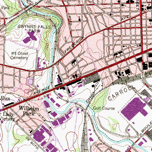 Topographic Map of Saint Benedicts Roman Catholic Church, MD