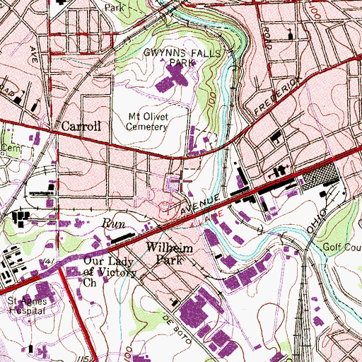 Topographic Map of Baltimore Police Department Southwestern District, MD