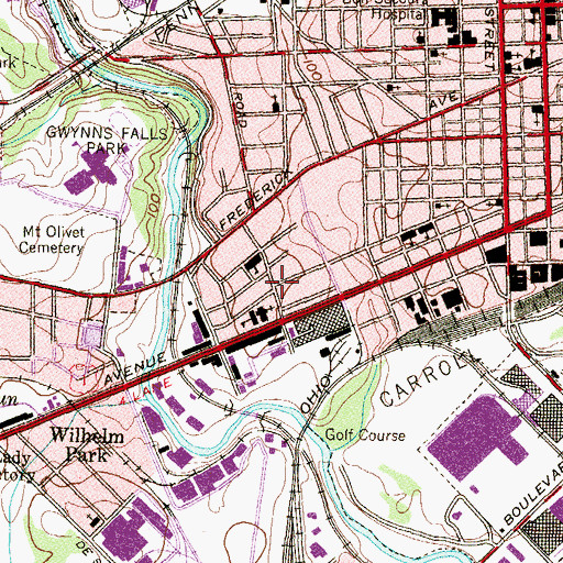 Topographic Map of Wilkins Avenue Recreation Center, MD
