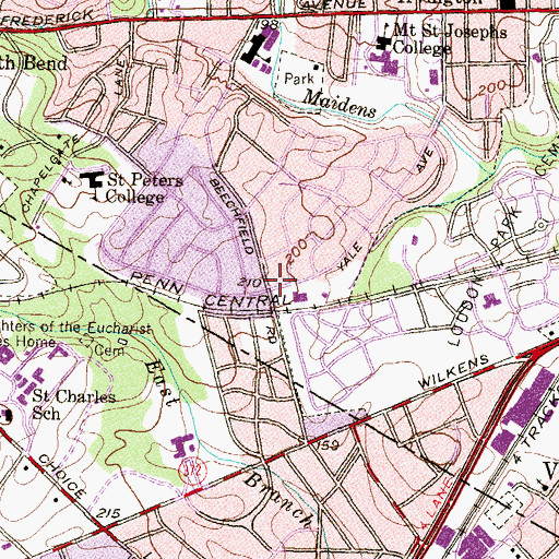 Topographic Map of Yale Heights Baptist Chapel, MD
