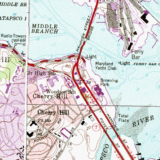 Topographic Map of Baltimore Police Department Southern District, MD