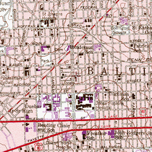 Topographic Map of Public School Number 109, MD