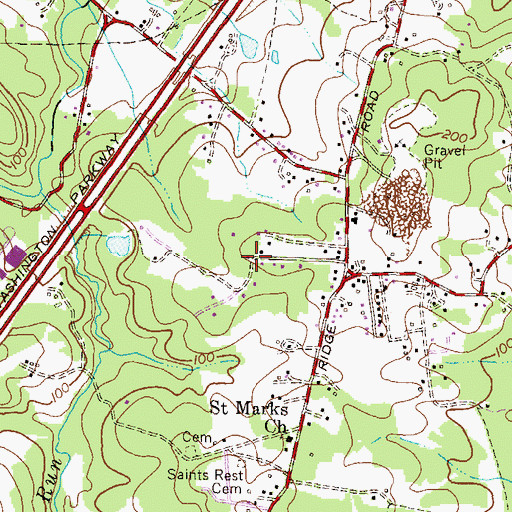 Topographic Map of Bentwoods, MD