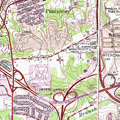 Topographic Map of Lynnbrook, MD
