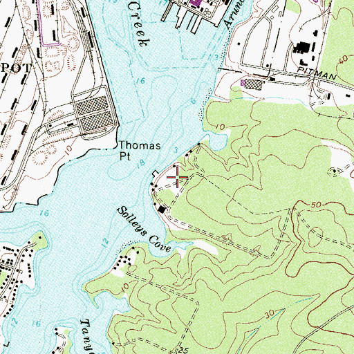 Topographic Map of Bohemia Beach, MD