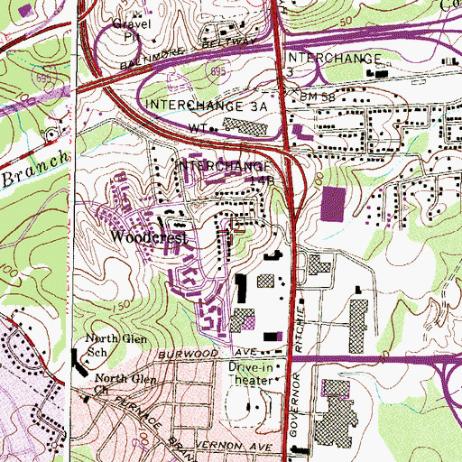 Topographic Map of Capitol Hills, MD