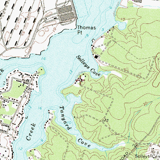 Topographic Map of Greenlawn Beach, MD