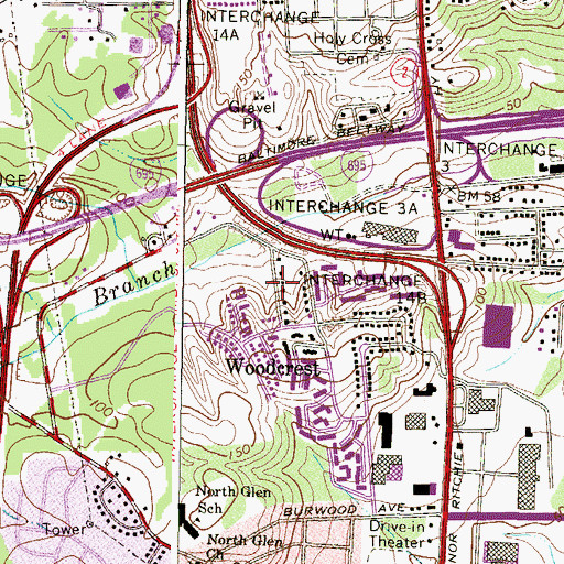 Topographic Map of Harris Heights, MD