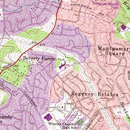 Topographic Map of Beverly Farms Elementary School, MD