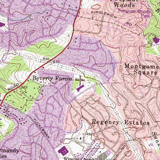 Topographic Map of Beverly Farms Park, MD