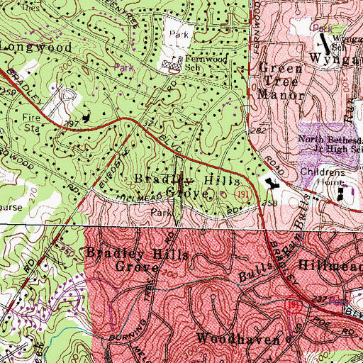 Topographic Map of Bradley Hills Park, MD