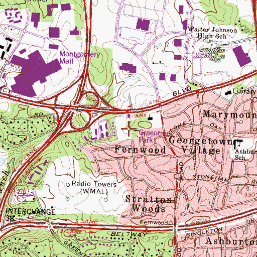 Topographic Map of Greentree Park, MD