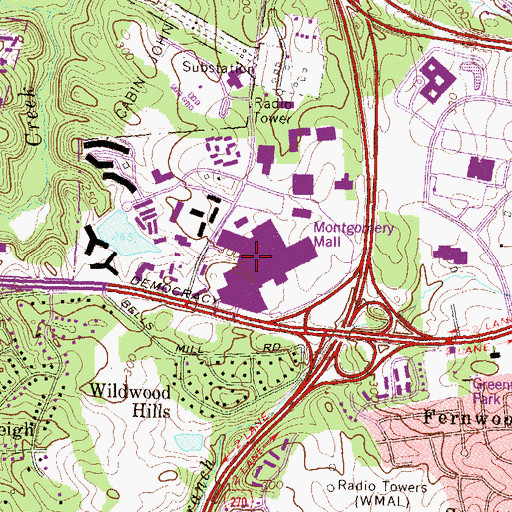 Topographic Map of Montgomery Mall Shopping Center, MD