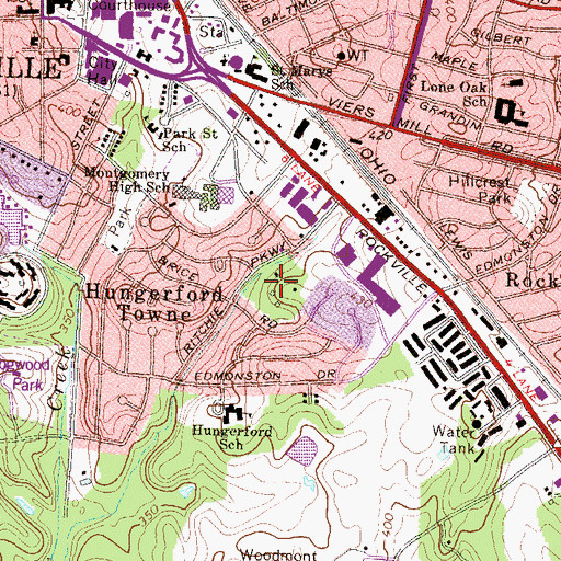 Topographic Map of Dawson Park, MD