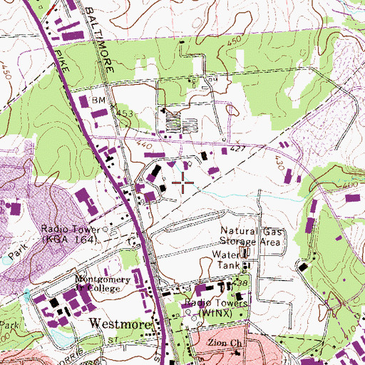Topographic Map of Derwood Industrial Park, MD
