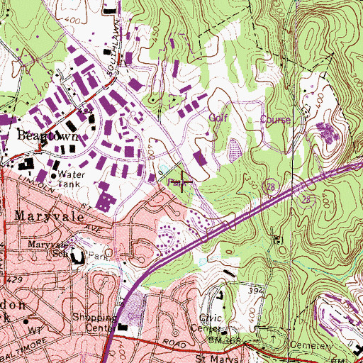 Topographic Map of Northeast Park, MD