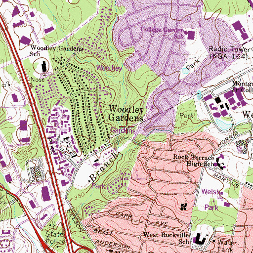 Topographic Map of Woodley Gardens Park, MD