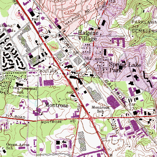 Topographic Map of Pike Center Shopping Center, MD