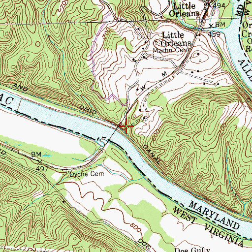 Topographic Map of Lock 58, MD