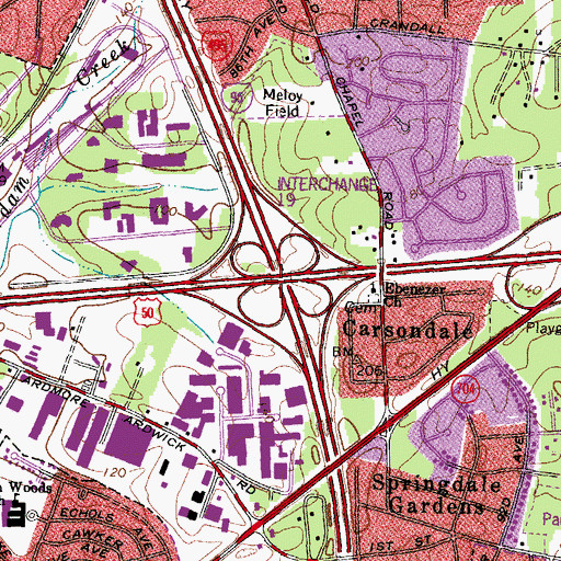 Topographic Map of Interchange 19, MD