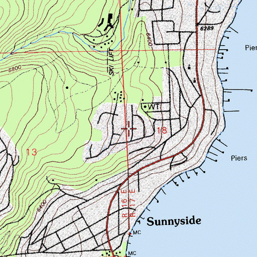 Topographic Map of Tahoe Woods, CA