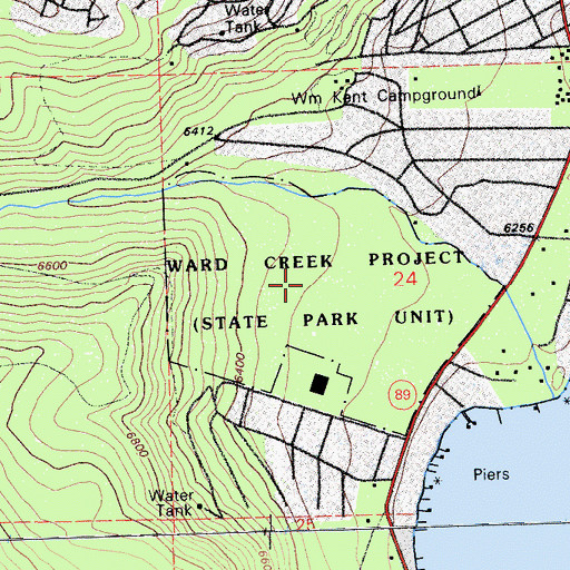 Topographic Map of Ward Creek Project, CA