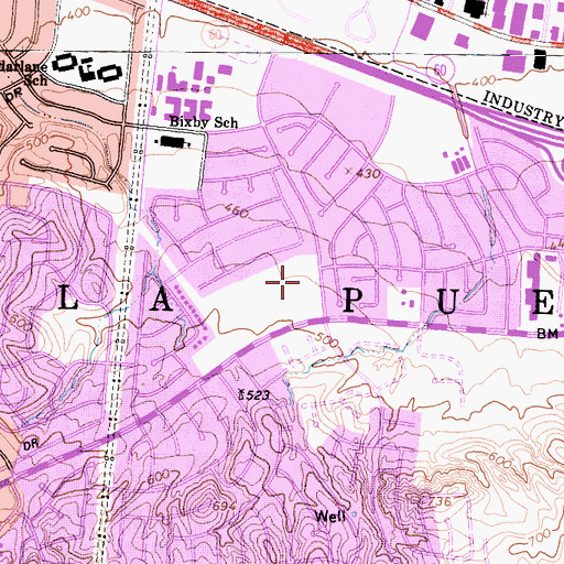 Topographic Map of Pepperbrook Park, CA