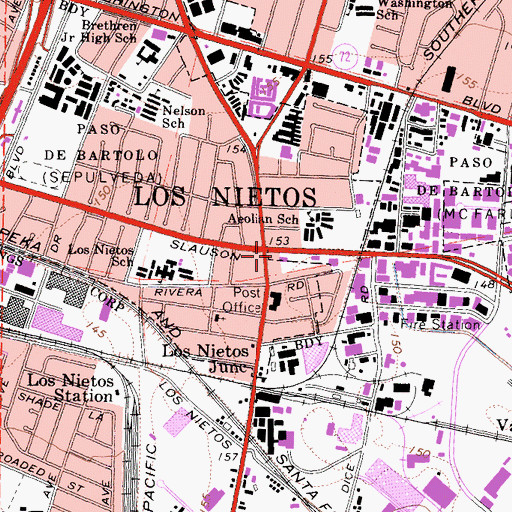 Topographic Map of Los Nietos Branch County of Los Angeles Public Library, CA