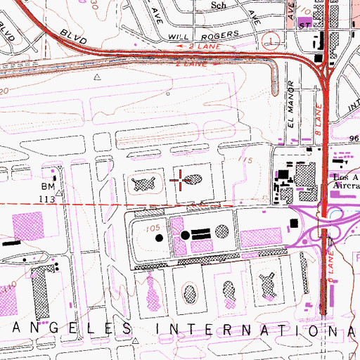 Topographic Map of Terminal 2, CA