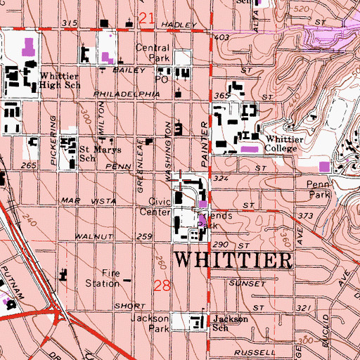 Topographic Map of Whittier City Hall, CA