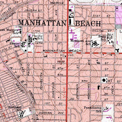Topographic Map of Manhattan Beach Post Office, CA