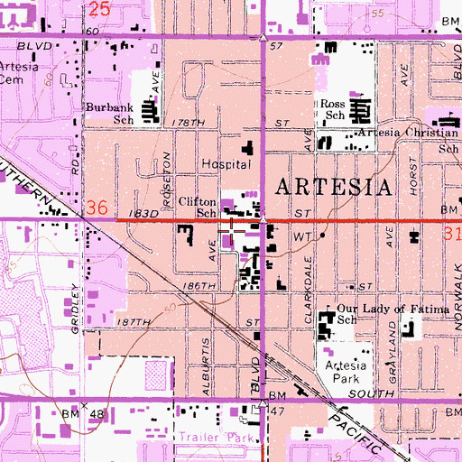 Topographic Map of Artesia Town Center Shopping Center, CA