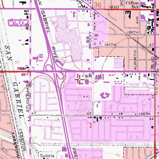 Topographic Map of Cerritos South Town and Country Shopping Center, CA