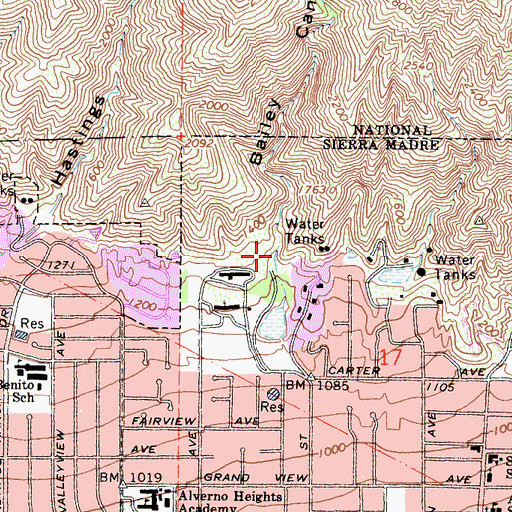 Topographic Map of Bailey Canyon Wilderness Park, CA