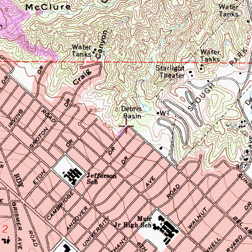 Topographic Map of Bel Aire Park, CA