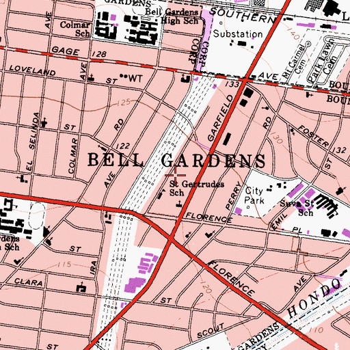 Topographic Map of Bell Gardens Post Office, CA