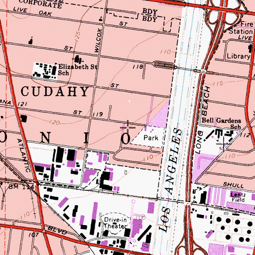 Topographic Map of Cudahy Branch County of Los Angeles Public Library, CA