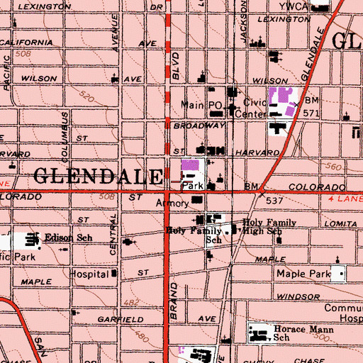 Topographic Map of Glendale Central Park, CA