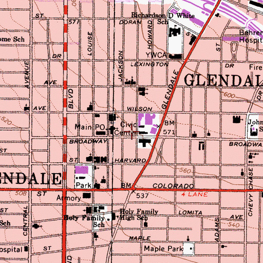 Topographic Map of Glendale City Hall, CA