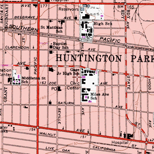 Topographic Map of Huntington Park Branch County of Los Angeles Public Library, CA
