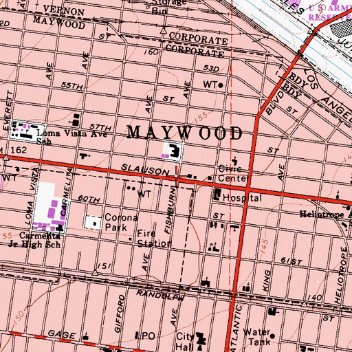 Topographic Map of Maywood City Hall, CA