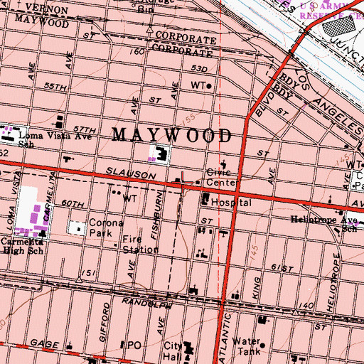 Topographic Map of Maywood Post Office, CA