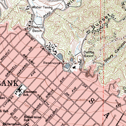 Topographic Map of Palm Park, CA