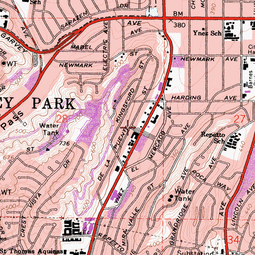 Topographic Map of Cascades Park, CA