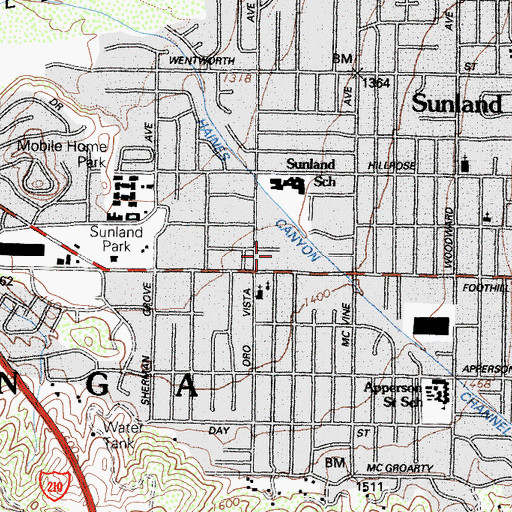 Topographic Map of Sunland Mall Shopping Center, CA