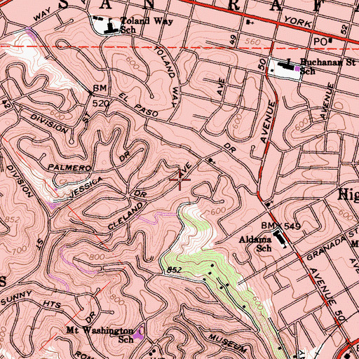 Topographic Map of Cleland Avenue Bicentennial Park, CA